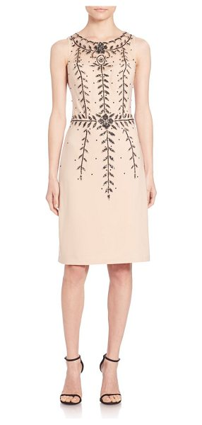 Sue Wong Beaded sleeveless sheath dress in champagne - Embellished vines accent smartly-tailored sheathIllusion...