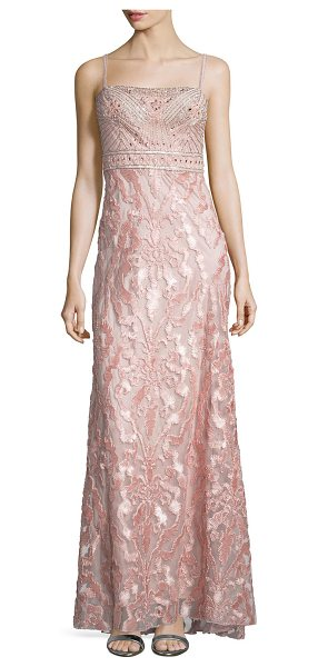 Sue Wong Embellished-Bodice Column Gown in rose - Sue Wong woven gown. Straight-cut neckline. Sleeveless;...