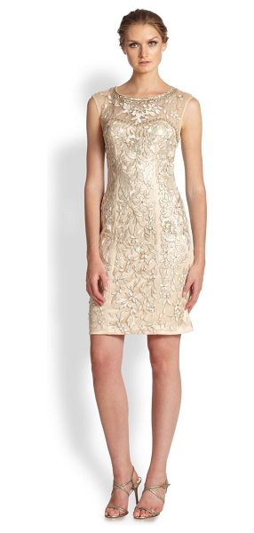 Sue Wong embellished illusion dress in champagne - Floral embroidery, paillettes, and sequins lend striking...