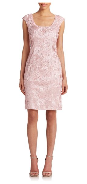 Sue Wong Embroidered cap-sleeve dress in rose - Beaded soutache embroidery casts a statement-making...