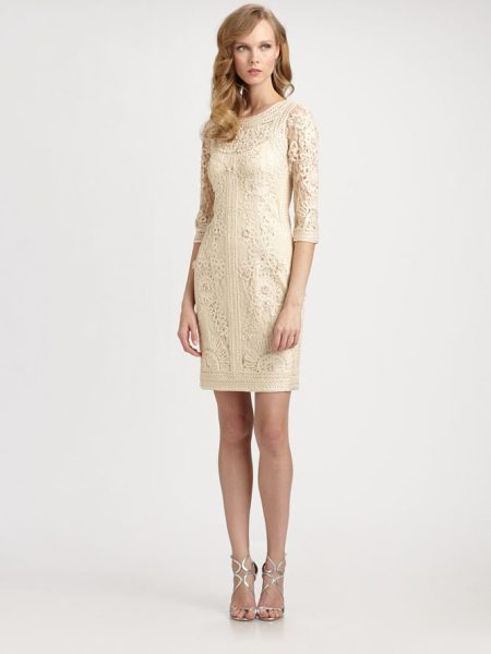 Sue Wong Embroidered illusion dress in beige - Beautifully textural allover embroidery and strategic...
