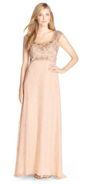 Sue Wong embroidered illusion lace gown in champagne