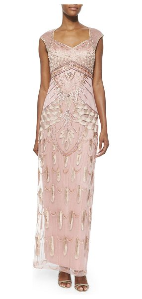Sue Wong Embroidered & sequined gown in sandalwood - Sue Wong sequined and embroidered mesh gown with...
