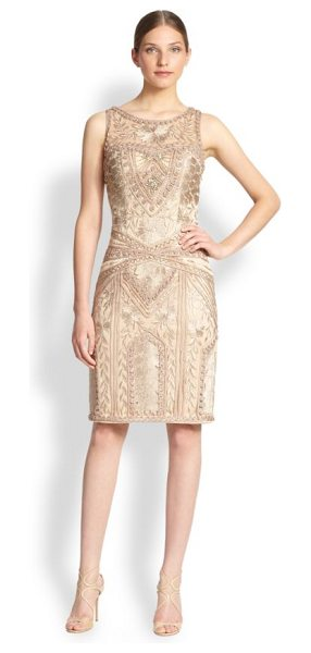 Sue Wong Embroidered sheath dress in beige - Embroidered appliqués and soutache trim embellish this...