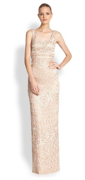 SUE WONG Embroidered soutache gown - An elegant column silhouette adorned with swirling...