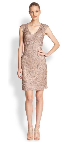 SUE WONG Embroidered v-neck cocktail dress - Allover soutache embroidery with sparkling accents...