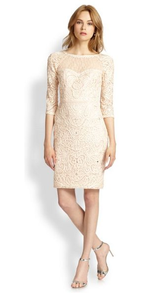 Sue Wong Macram & #233 illusion sheath dress in blush - Macramé embroidery and an illusion top lend a textural...