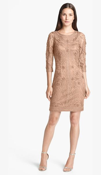 Sue Wong ribbon trim illusion bodice dress in taupe - A sophisticated tonal overlay of embroidery and applique...