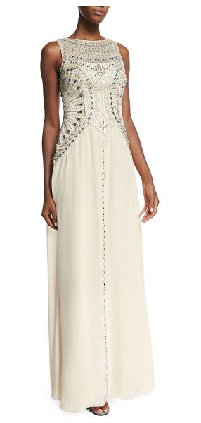Sue Wong Sleeveless beaded flowy gown in champagne - Sue Wong gown with embroidered bodice and well-placed...