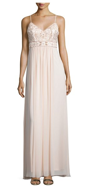 Sue Wong Sleeveless embellished-bodice gown in blush - Sue Wong embellished gown. V neckline. Thin shoulder...