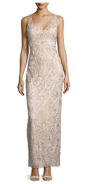 Sue Wong Sleeveless embroidered column gown in champagne - Sue Wong floral embroidered gown with rhinestone detail....