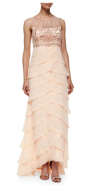 Sue Wong Sleeveless embroidered ruffle gown in pink - Sue Wong evening dress features floral embroidered bust...