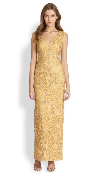 SUE WONG Soutache column gown - Scrolls of beaded soutache and light-catching jewels are...