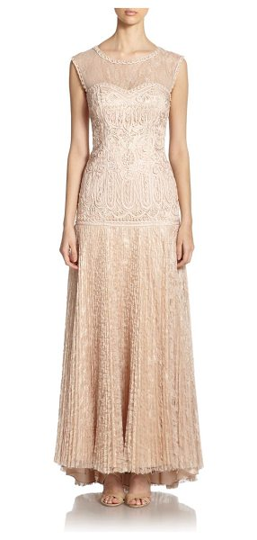 Sue Wong soutache embroidered gown in antique champagne - Signature soutache embroidery elevates this richly...