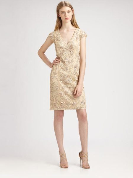 Sue Wong Soutache embroidery dress in beige - Luxe, intricate soutache embroidery, enhanced with...