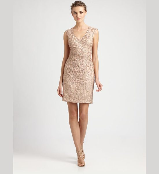Sue Wong Soutache embroidery dress in champagne - This intricately embellished design features gorgeous...
