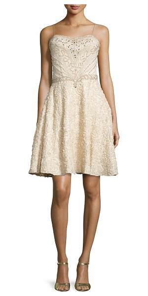 SUE WONG Spaghetti strap fit & flare sequined dress - Sue Wong embroidered sequined dress. Approx....