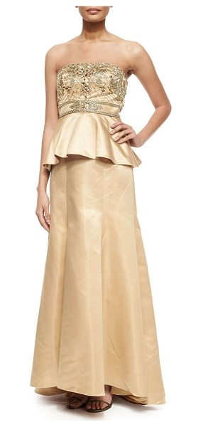SUE WONG Strapless beaded bodice peplum gown in gold -  Sue Wong satin gown with beaded bodice. Strapless...