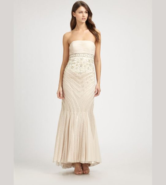 SUE WONG Strapless gown - Ruffled trim enhances the curve-hugging silhouette of...