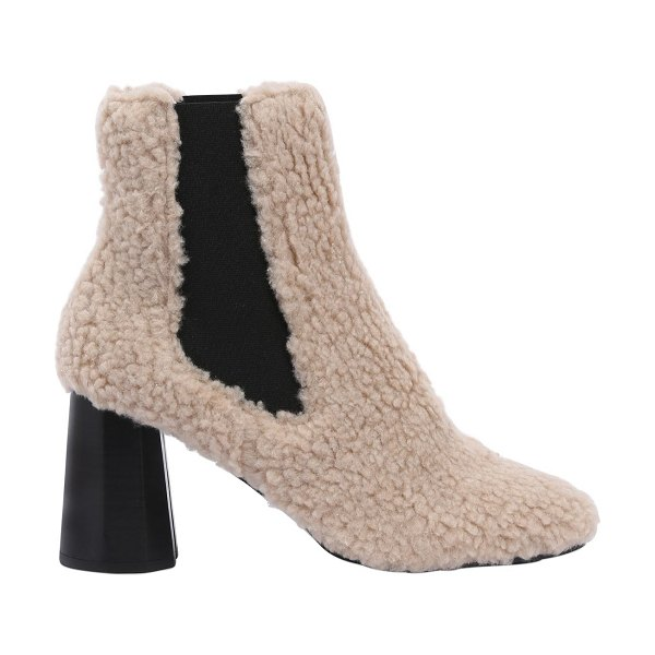 SUECOMMA BONNIE 80mm furry faux shearling ankle boots in beige - 80mm Heel . Side elastic inserts. Leather insole . Rubber sole