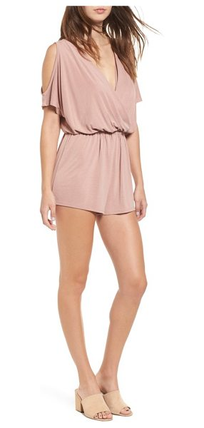 Sun & Shadow cold shoulder romper in pink compact - Softly draped blouson styling and flirty cold-shoulder...