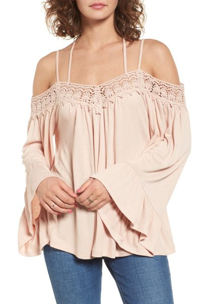 Sun & Shadow crochet trim off the shoulder top in pink hero - Embrace your inner bohemian in this romantic...