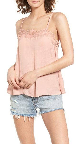 Sun & Shadow lace trim camisole in pink fawn - Scalloped eyelash lace sweetens a loose, flowy cami that...