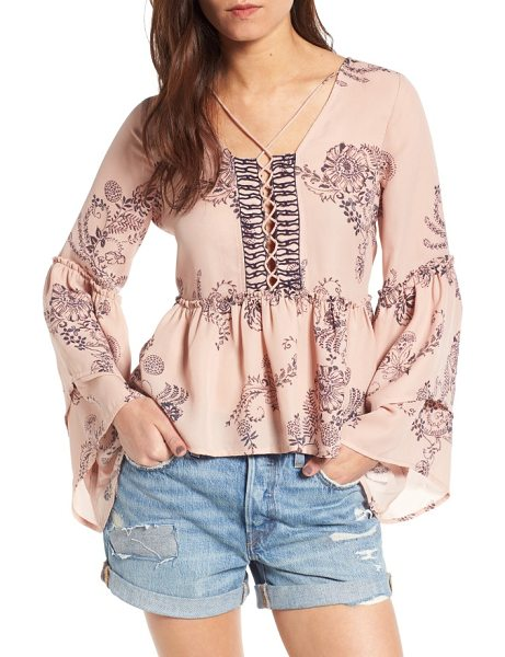 Sun & Shadow tiered sleeve lace-up top in pink adobe paisley patch toss - A delicate floral-paisley print swirls across a graceful...