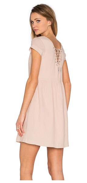 Suncoo Chouki Lace Up Back Dress in blush - 100% cotton. Hand wash cold. Fully lined. Lace-up back...