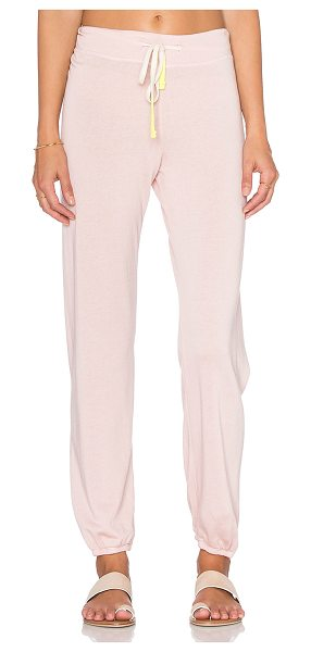 Sundry Drawstring sweatpant in pink - 37% tencel 35% cotton 28% rayon. Drawstring waist....