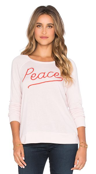 Sundry Peace crop sweatshirt in pink - 37% tencel 35% cotton 28% rayon. Embroidered graphic....