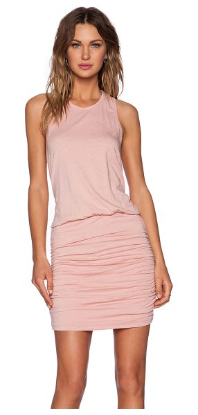 SUNDRY Ruched tank dress in blush - 95% cotton 5% spandex. Ruched sides. SDRY-WD44. 12 0043....