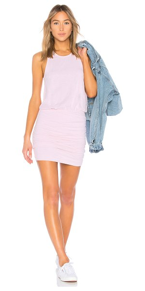 SUNDRY Ruched Tank Dress in pink - 95% cotton 5% spandex. Partially lined. Slub knit...