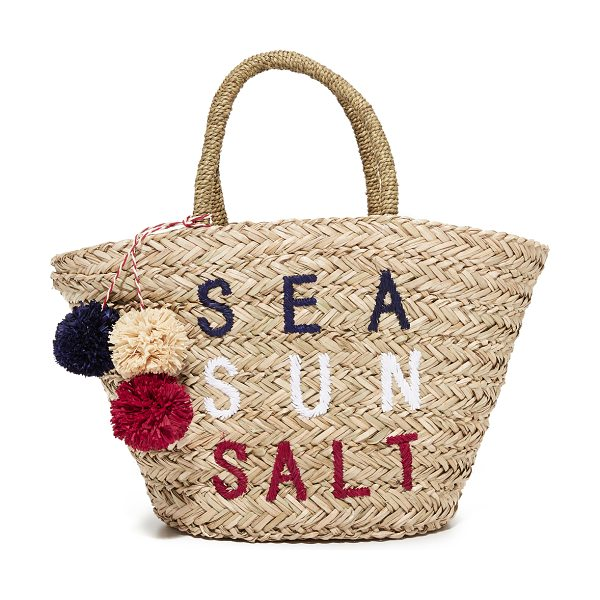 Sundry sea sun salt straw bag in natural - Colorful pom-poms and 'Sea Sun Salt' embroidery adds a...