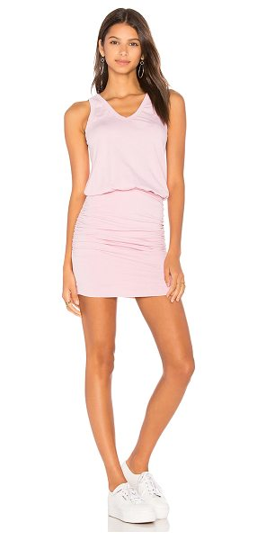 Sundry U Neck Dress in rose pigment - 95% cotton 5% spandex. Partially lined. Ruched side...