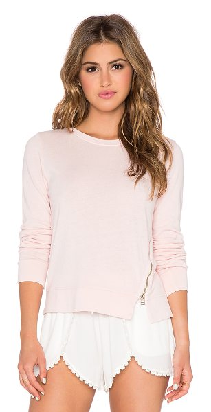 Sundry Zipper pullover in pink - 50% poly 38% rayon 12% cotton. Exposed asymmetrical...
