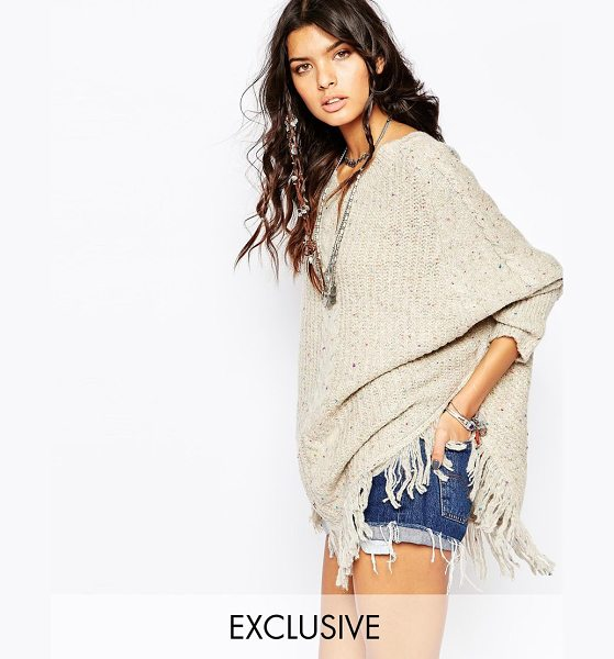 Sunshine Soul Boho oversized poncho sweater with v-neck & tassel details in cream - Sweater by Sunshine Soul Cotton-mix fabric Textured feel...
