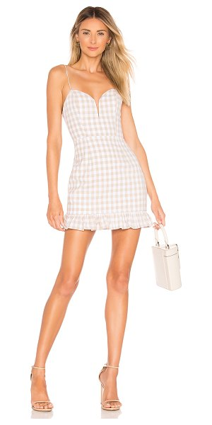superdown avery sweetheart ruffle dress in nude gingham
