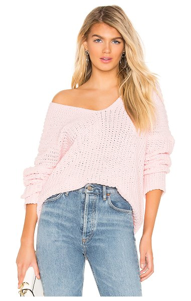 superdown Christie Pullover Sweater in pink - 100% poly. Hand wash cold. Plush open knit fabric. Rib...