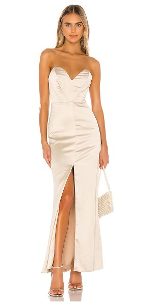 superdown courtney strapless maxi dress in champagne