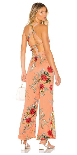 superdown sara open back jumpsuit in nude floral