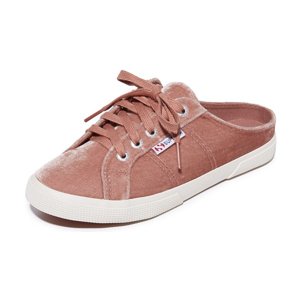 Superga 2288 velvet mule sneakers in blush - Cutaway backs lend easy, slip-on style to these casual...