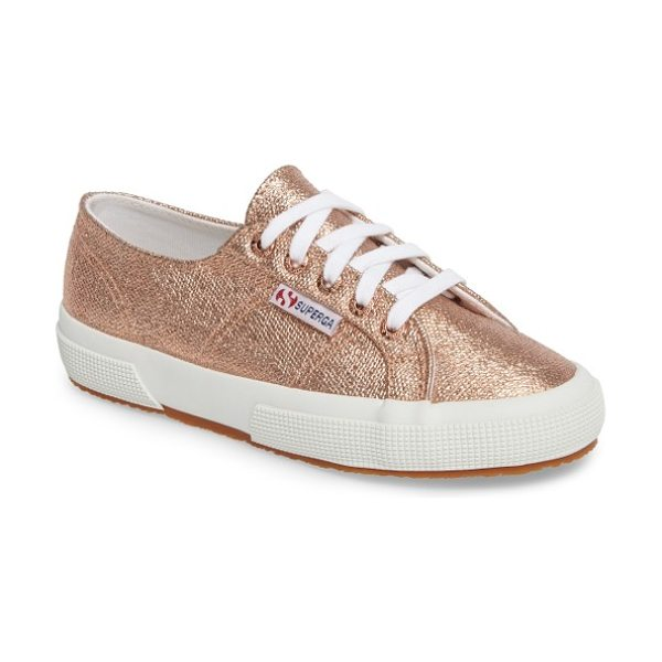 Superga 2750 metallic sneaker in rose gold - A metallic finish amps up the street-ready style of a...