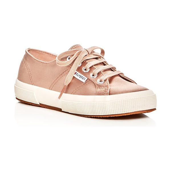 Superga Classic Satin Lace Up Sneakers in blush - Superga Classic Satin Lace Up Sneakers-Shoes