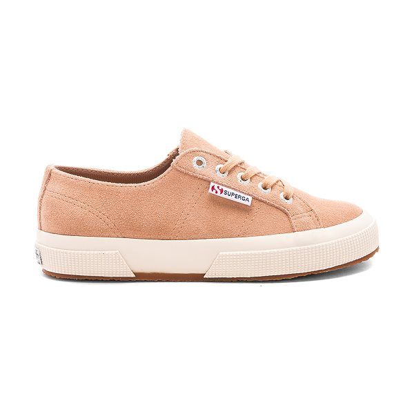 Superga 2750 Suede Sneaker in tan - Suede upper with rubber sole. Lace-up front. SERG-WZ153....
