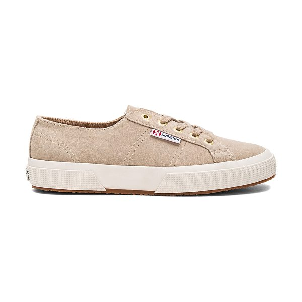 Superga 2750 Sueu Sneaker in sand with gold eyelets - Suede upper with rubber sole. Lace-up front. SERG-WZ129....