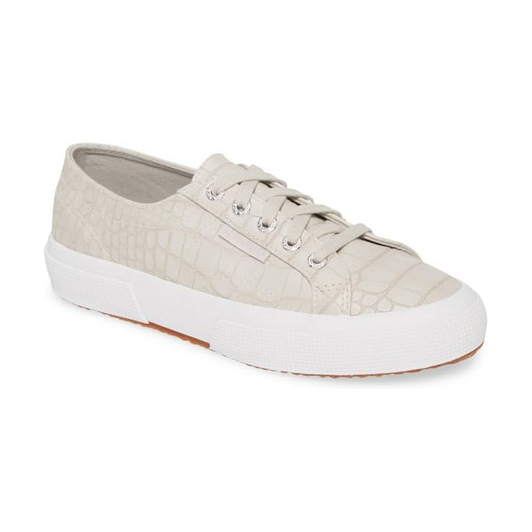 Superga 2750 synt crocodile embossed sneaker in metallic
