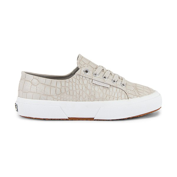 Superga 2750 synthetic crocodile sneaker in taupe croc