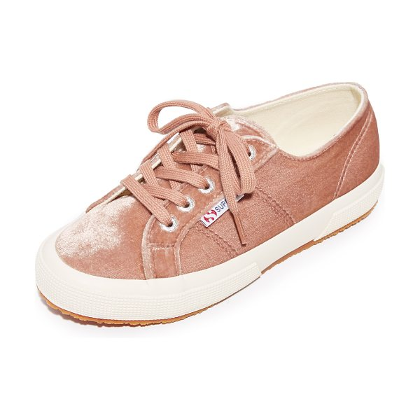 Superga 2750 velvet sneakers in blush - Casual Superga sneakers updated in plush velvet. Tonal...