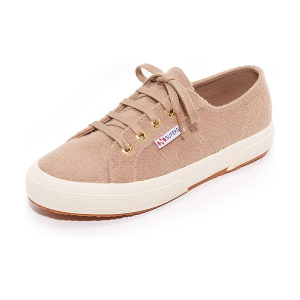 Superga 2750 wool sneakers in beige cream - Casual Superga sneakers in soft felt. Tonal ties lace...